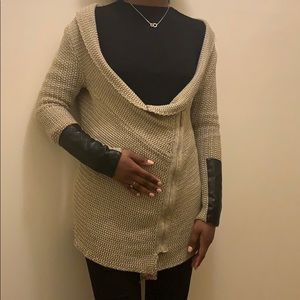Beige sweater with faux leather accent size M